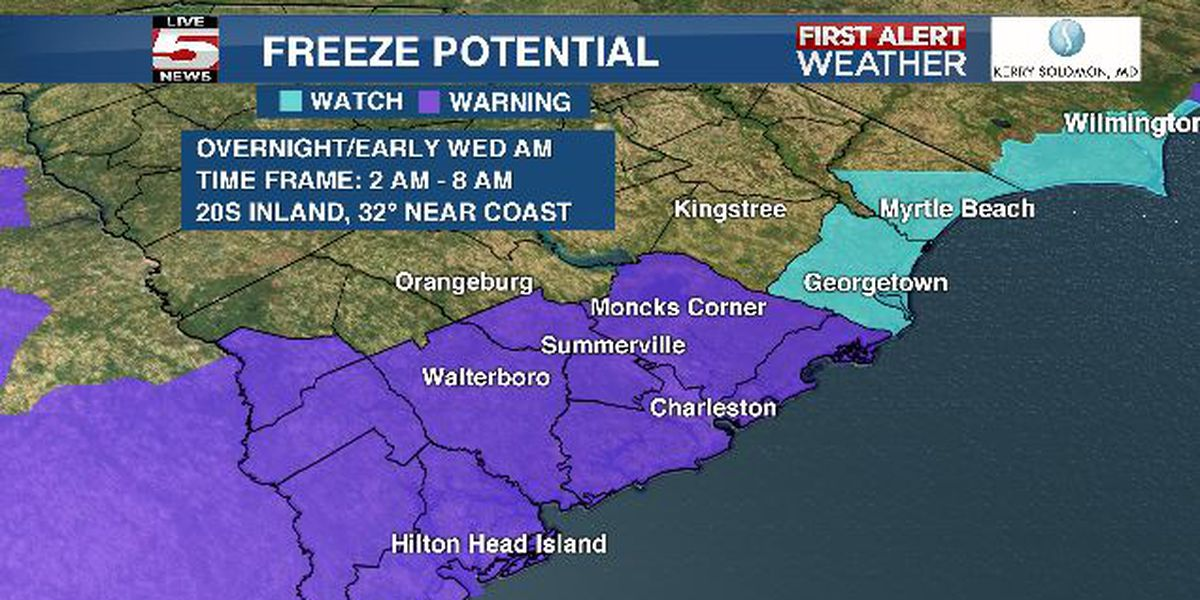 FIRST ALERT: Freeze warning issued for Lowcountry Wednesday morning