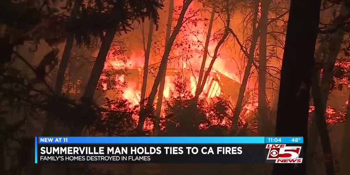 Summerville man's family displaced by California wildfires