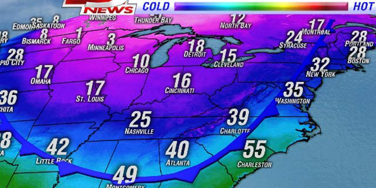 Arctic air, record cold headed for the Lowcountry
