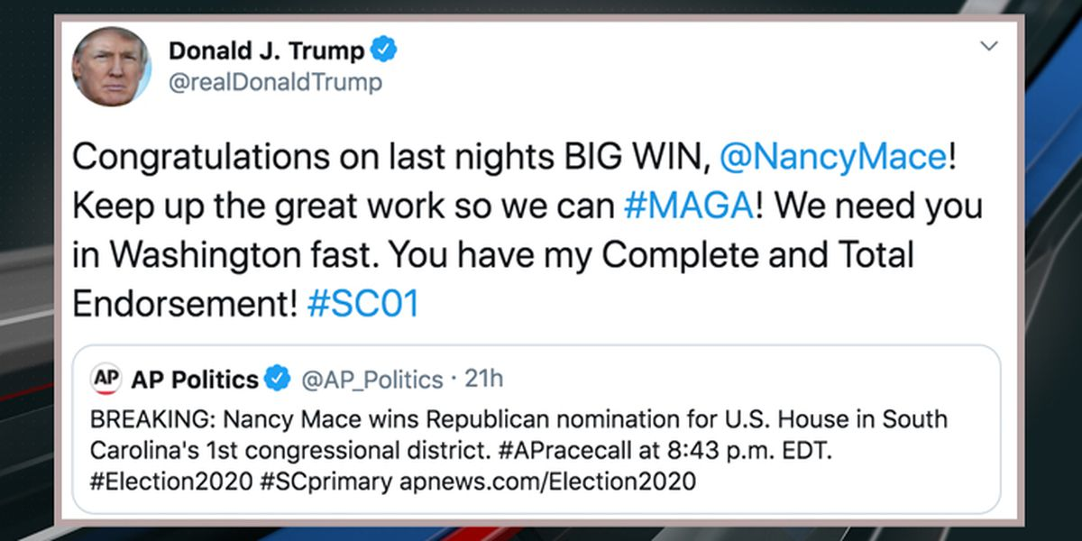 President Trump gives 'Total Endorsement' to Nancy Mace following primary win