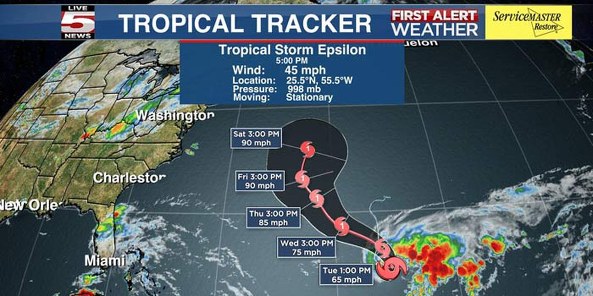 TROPICS: Tropical Storm Epsilon could be hurricane when it reaches Bermuda