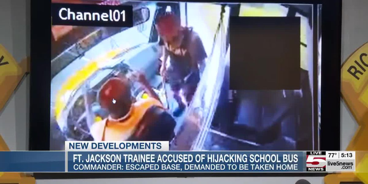 VIDEO: Ft. Jackson trainee accused of hijacking school bus 'wanted to get home,' commander says