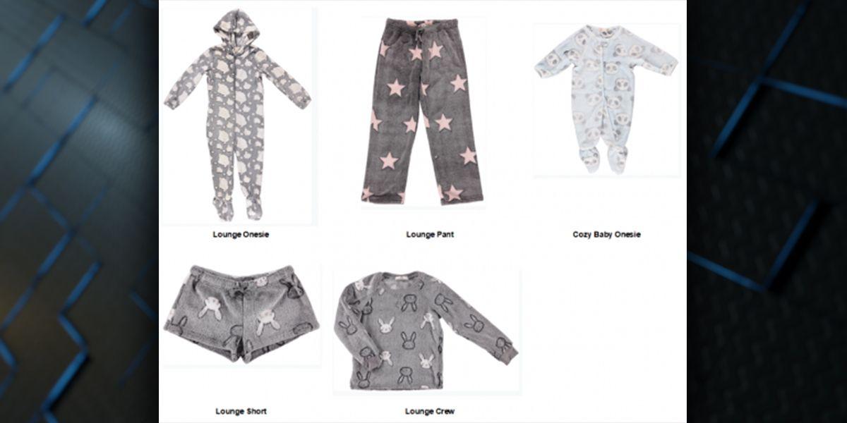 RECALL: Children's pajamas recalled for risk of burn injury