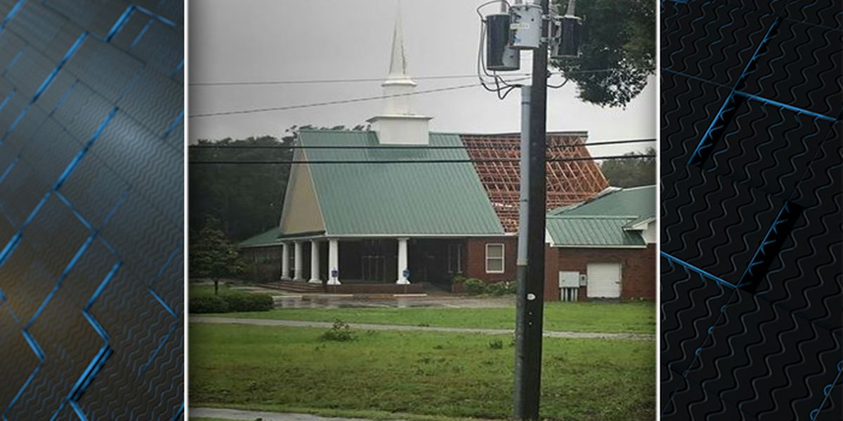 Part of roof blows off James Island church during Hurricane Dorian