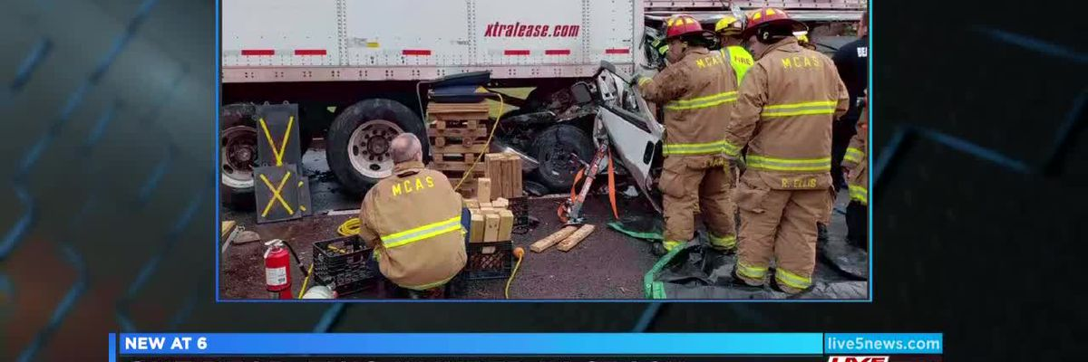 VIDEO: 1 dead, 2 injured after vehicle wreck with tractor trailer in Beaufort Co.