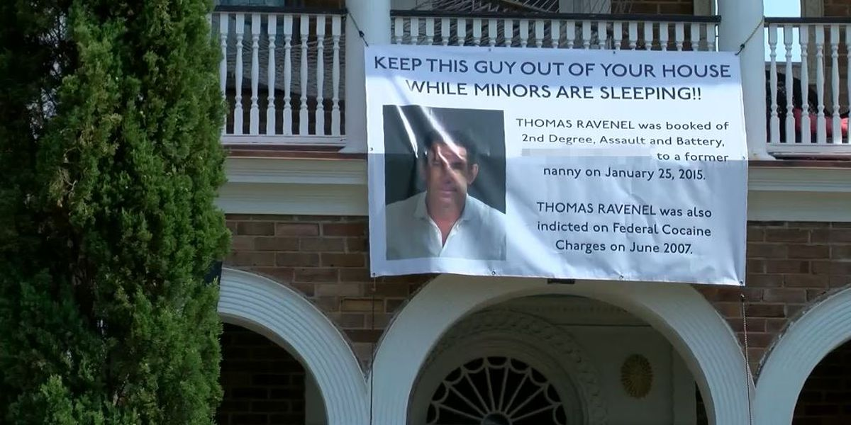Banner hanging from home on Charleston's Battery blasts Thomas Ravenel