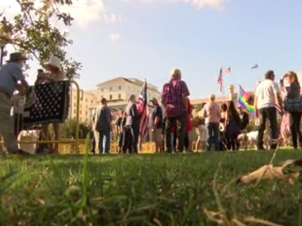 Demonstrators hold protest against plans to remove Calhoun statue pedestal